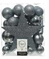 33x grijsblauwe kerstballen met ster piek 5 6 8 cm kunststof mix trend