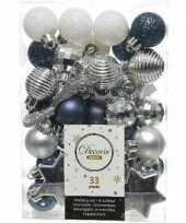 33x kerstballen donkerblauw wit zilver 3 4 cm kunststof mix trend
