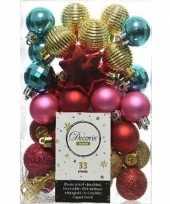 33x kerstballen rood fuchsia goud turquoise 3 4 cm kunststof mix trend