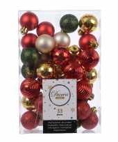 33x kerstversiering kerstballen mix rood champagne goud groen trend