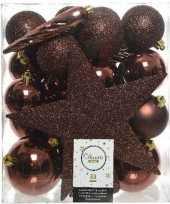 33x mahonie bruine kerstballen met ster piek 5 6 8 cm kunststof trend