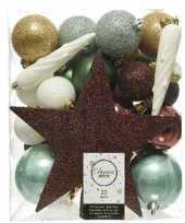 33x natuurtinten kerstballen met ster piek 5 6 8 cm kunststof trend