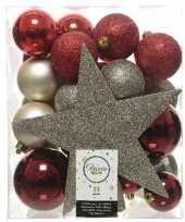 33x rood champagne bruin kerstballen met piek 5 6 8 cm kunststof trend
