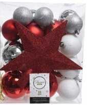 33x rood wit zilveren kerstballen met piek 5 6 8 cm kunststof trend