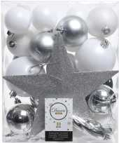 33x wit zilveren kerstballen met piek 5 6 8 cm kunststof trend