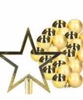 36 gouden kerstballen en goudkleurige kerstster piek trend