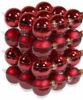 36x rode glazen kerstballen 6 cm mat glans trend