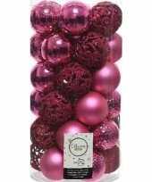 37x fuchsia roze kerstballen 6 cm kunststof mix trend