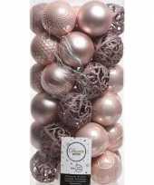 37x lichtroze kerstballen 6 cm kunststof mix trend