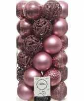 37x oud roze kerstballen 6 cm kunststof mix trend