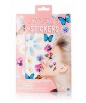 3d gezicht stickers bloemen en vlinders 1 vel trend