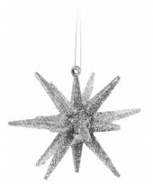 3d ster zilver met glitters 7 cm trend