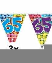 3mini vlaggenlijn slinger verjaardag versiering 65 jaar trend