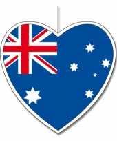3x australie hangdecoratie harten 14 cm trend