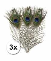 3x decoratie pauwen veren hobby materiaal trend