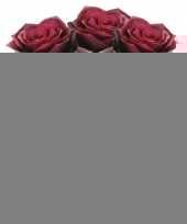 3x donker rode rozen simone kunstbloemen 45 cm trend