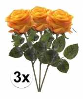 3x geel oranje rozen simone kunstbloemen 45 cm trend
