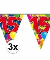 3x gekleurde vlaggenlijn 15 jaar 10 meter trend