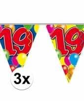3x gekleurde vlaggenlijn 19 jaar 10 meter trend