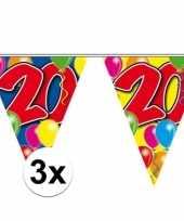 3x gekleurde vlaggenlijn 20 jaar 10 meter trend