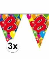 3x gekleurde vlaggenlijnen 8 jaar 10 meter trend