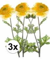 3x gele ranonkel kunstbloemen tak 45 cm trend