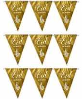 3x gouden eid mubarak thema vlaggenlijnen slingers 6 meter trend