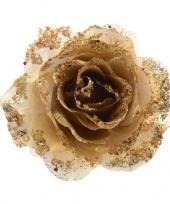 3x gouden glitter roos met clip trend