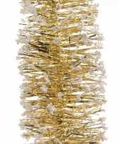 3x gouden kerstversiering folie slingers met sneeuw 200 cm trend