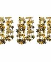 3x gouden sterren kralenslinger kerstslinger 270 cm trend