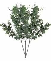 3x grijs groene eucalyptus kunsttakken kunstplant 65 cm trend
