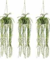 3x groene ficus pumila kunstplanten 60 cm in pot trend