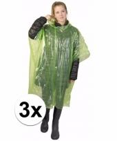 3x groene poncho met capuchon voor volwassenen trend