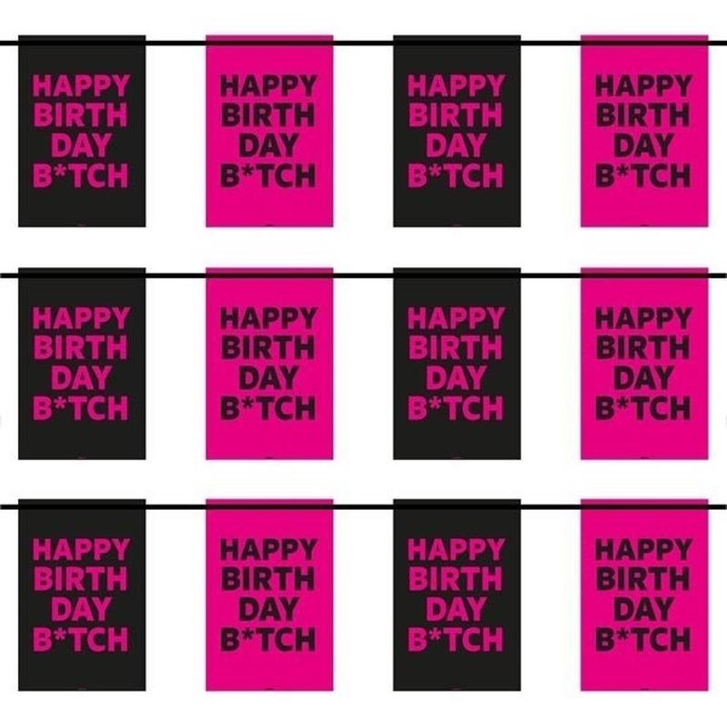 3x happy birthday b tch vlaggenlijnen 6 m trend