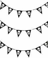 3x horror schedel vlaggenlijn slinger 360 cm halloween decoratie trend