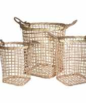 3x houten rieten manden met touw handvaten trend
