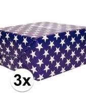 3x inpakpapier blauw met sterren 200 x 70 cm op rol trend