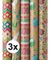 3x inpakpapier bruin birthday print 200 x 70 cm op rol trend