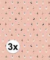 3x inpakpapier cadeaupapier ballerina 200 x 70 cm roze trend