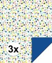 3x inpakpapier cadeaupapier confetti 200 x 70 cm gekleurd trend