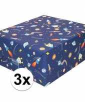 3x inpakpapier cadeaupapier donkerblauw raketten 200 x 70 cm rol trend