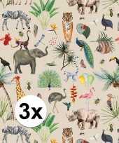 3x inpakpapier cadeaupapier jungle 200 x 70 cm trend