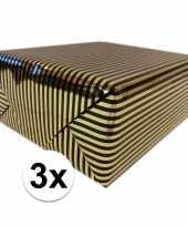 3x inpakpapier cadeaupapier metallic goud zwart 150 x 70 cm trend