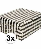 3x inpakpapier cadeaupapier metallic goud zwart wit 150 x 70 cm trend