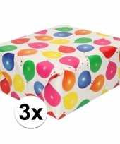 3x inpakpapier cadeaupapier metallic wit ballonnen 150 x 70 cm trend