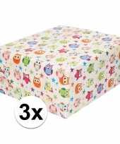 3x inpakpapier cadeaupapier wit en gekleurde uiltjes 200 x 70 cm trend