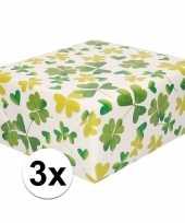 3x inpakpapier cadeaupapier wit met klavertjes 200 x 70 cm trend