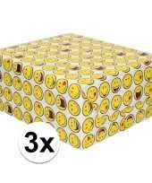 3x inpakpapier cadeaupapier wit met smileys 200 x 70 cm trend