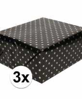 3x inpakpapier holografisch zwart sterren 150 x 70 cm per rol trend