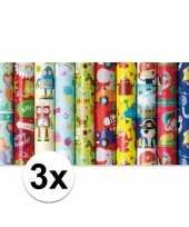 3x inpakpapier kinder verjaardag met boerderij thema 200 x 70 trend